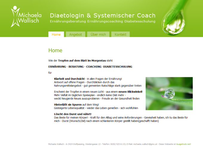 Screenshot Michaela Wallisch Website - Frontpage