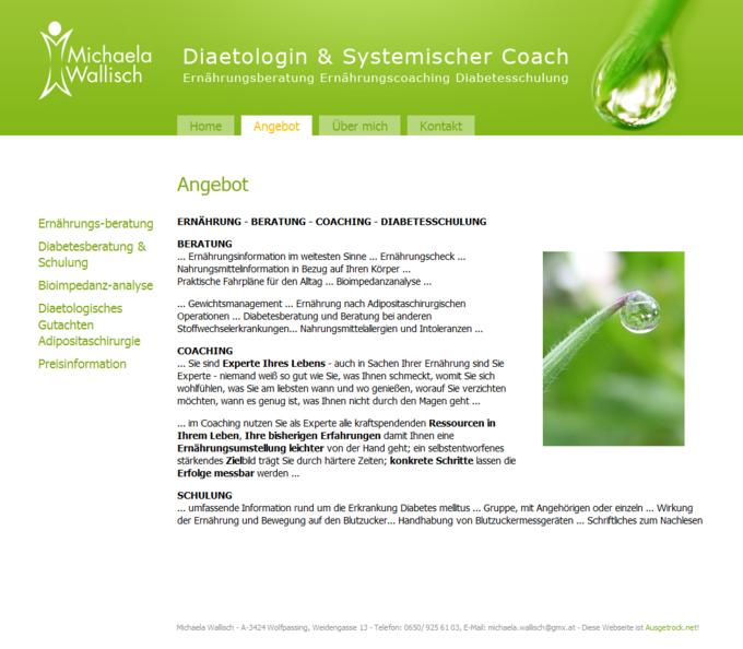 Screenshot Michaela Wallisch Website - Angebot