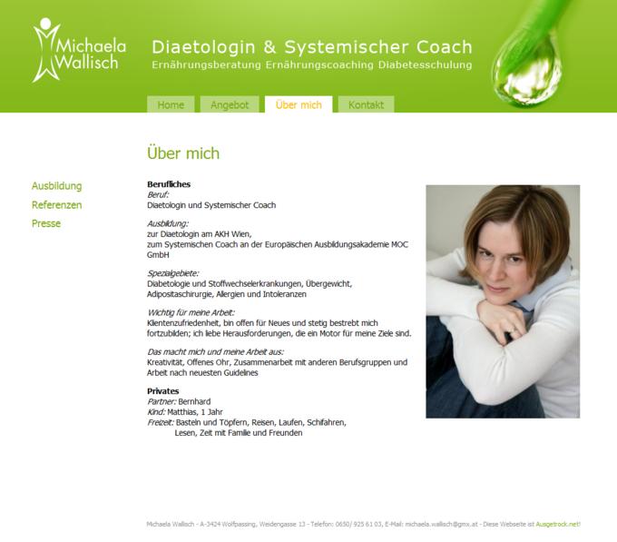 Screenshot Michaela Wallisch Website - About