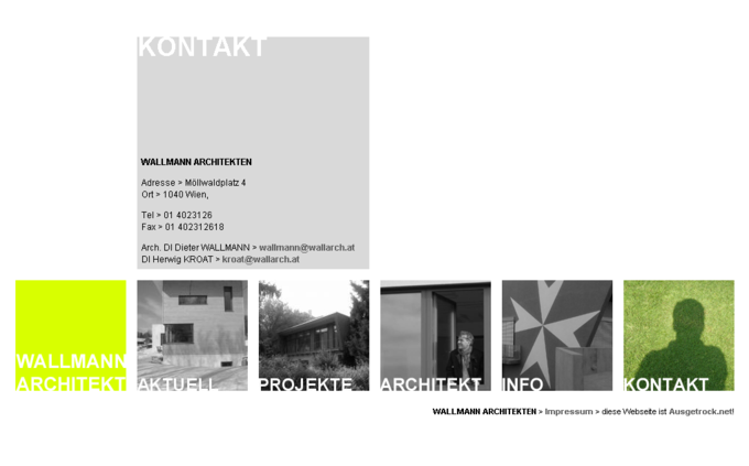 Screenshot Wallmann Architekt Website - Kontakt