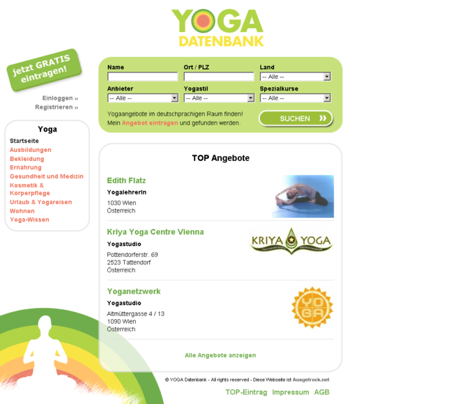 Screenshot Yogadatenbank Website - Frontpage
