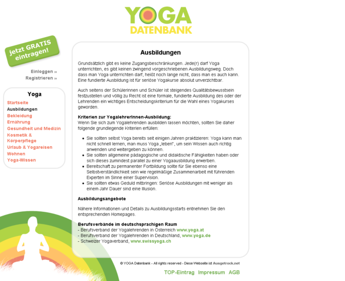 Screenshot Yogadatenbank Website - Ausbildungen