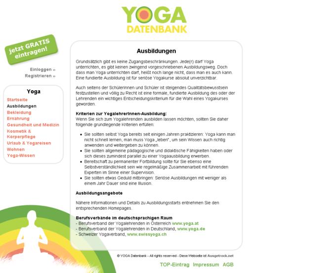 Screenshot Yogadatenbank Website - Ausbildungen