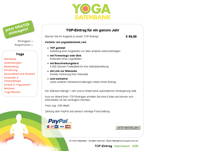 Screenshot Yogadatenbank Website - Top Eintrag
