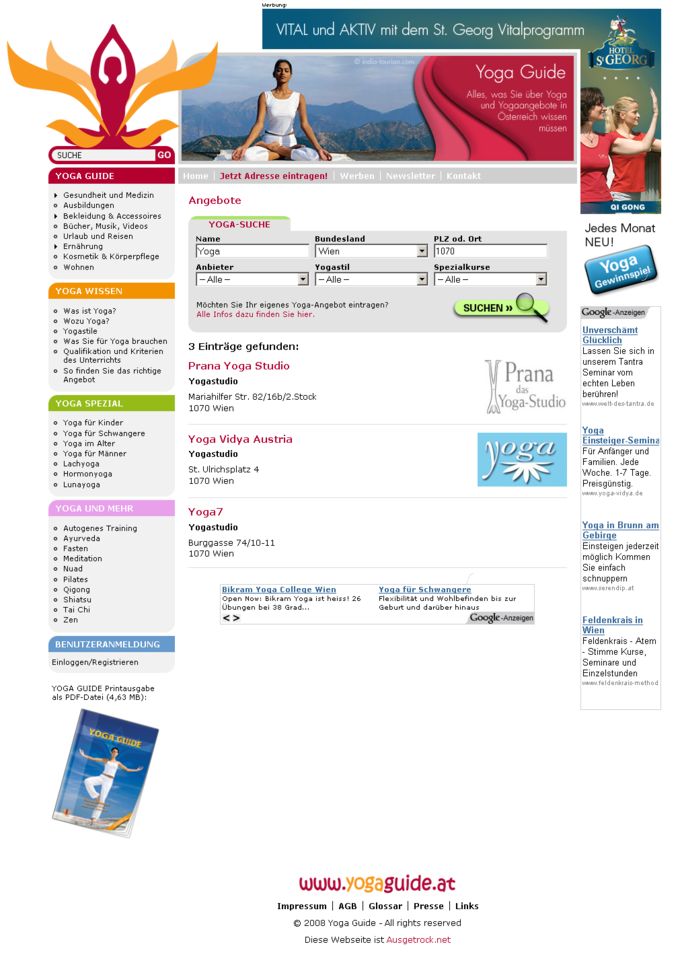 Screenshot Yogaguide Website - Angebot