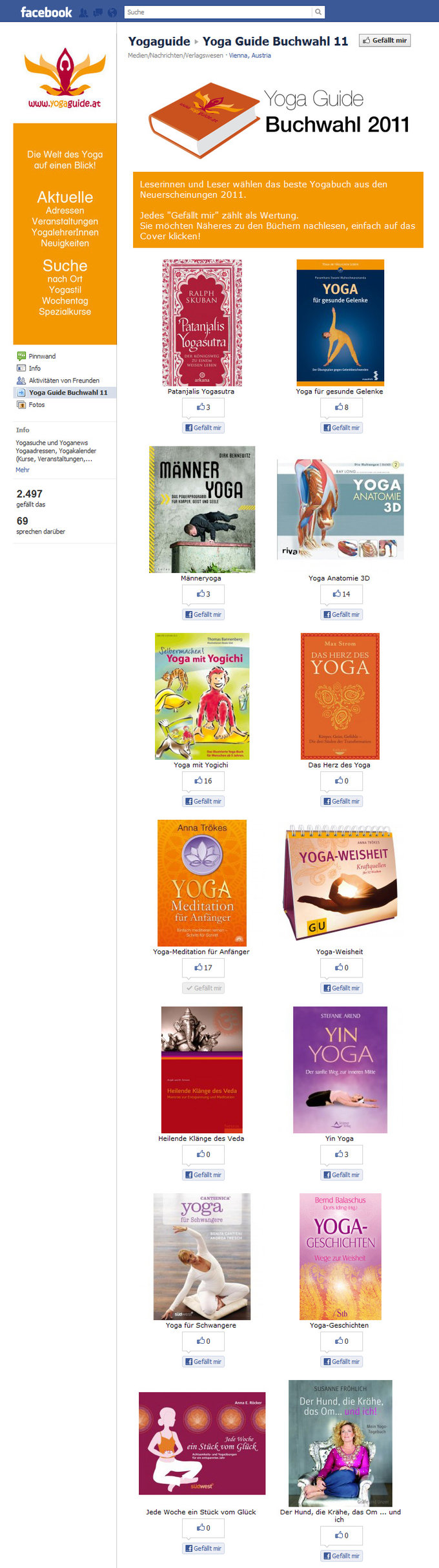 Yoga Guide Facebook Voting Tool Screenshot