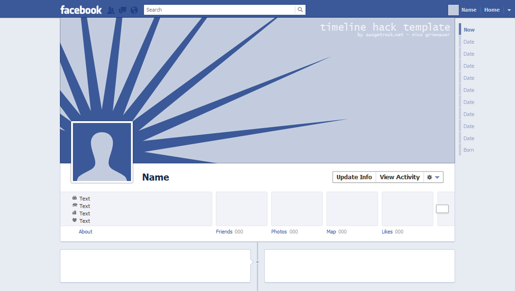 ADAPTATION OF FACEBOOK TIMELINE COVER UND AVATAR WITH A TEMPLATE